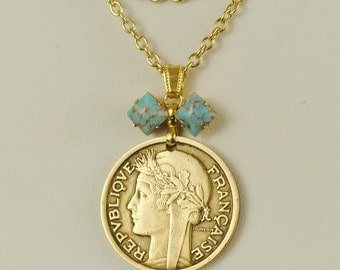 France Coin Necklace 2 Franc 1939