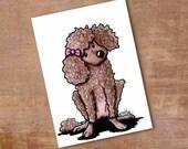 POODLE Dog Original Art ACEO Chocolate Brown