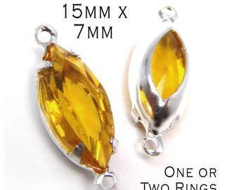 Golden Topaz Vintage Glass Beads, Navette, Silver Plated Brass Settings, 15mm x 7mm, One or Two Rings, Glass Jewels, Glass Gems, One Pair