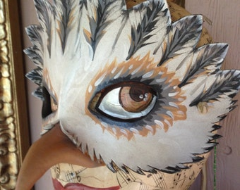 Barn OWL mask, White and grey bird mask, leather mask by Faerywhere