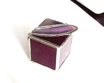 Purple Stained Glass Trinket Box With Agate