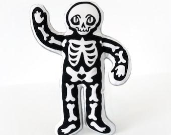 Skeleguy -Silkscreened doll with soft fleece backing- white with grey fleece