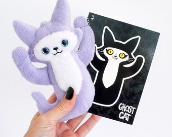 Purple Ghost Cat - A soft plush doll friend to blame all your troubles on - Comes with illustrated postcard