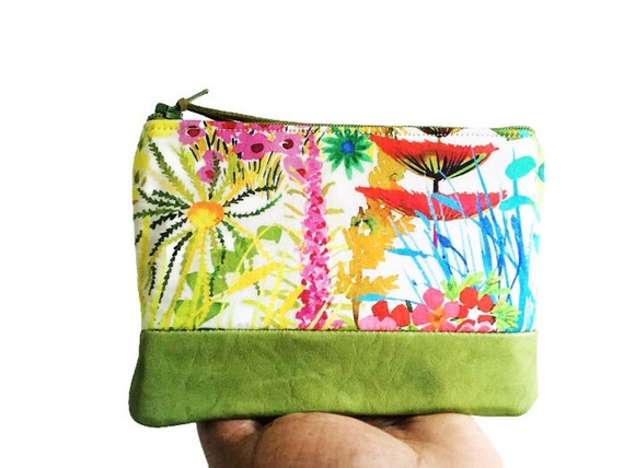 Green Tresco Leather Pouch, Coin Purse, Leather Change Wallet