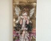 Steampunk art, anime fairy, cute, fantasy print, art hanging, wall scroll, - by Meredith Dillman