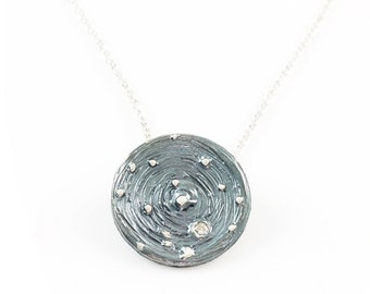 Galaxy Pendant in Sterling Silver with Moissanite in Orbit - Made to Order