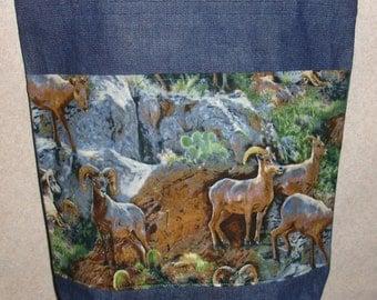 New Large Handmade Bighorn Sheep Mountain Wildlife Denim Tote Bag
