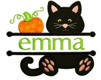 Halloween Applique, Cat Applique, Pumpkin Applique, Font Frame, Halloween Embroidery, Machine Embroidery Design, Instant Download