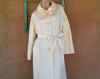 Vintage 1950s Coat White All Weather Trench 50s Swing Coat Maternity Sz L 2016319