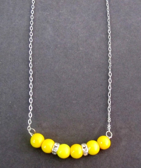 Yellow Glass Pearl Necklace with Rhinestone Spacers, Very Simple & Classic Floating 7 Pearl Necklace,Spring Jewelry, Free Shipping USA