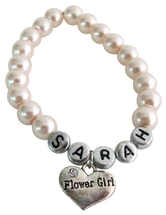 Girls Personalized Flower Girl  Flower Girl Gift, Kids Pearl Bracelet, Wedding Jewelry Flower Girl Jewelry Free Shipping In USA