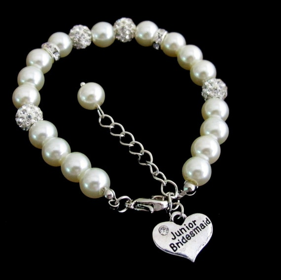 Junior Bridesmaid Bracelet Ivory Pearl Rhinestone Bracelet,Pearl Bracelet, Children's jewelry,Jr Bridesmaid Pearl Bracelet Free Shipping USA
