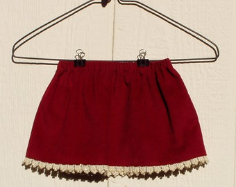 Cranberry Elastic Waist Cotton Pinwale Corduroy Baby Skirt Size 6-12 Months