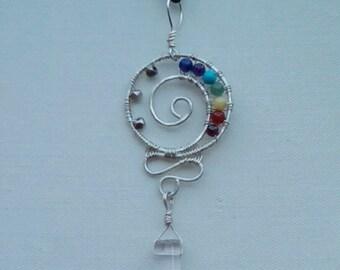 Chakra Necklace, Chakra Pendant, Crystal Necklace, Chakra Jewelry, Sterling Pendants, Seven Chakras, Handmade Necklaces,