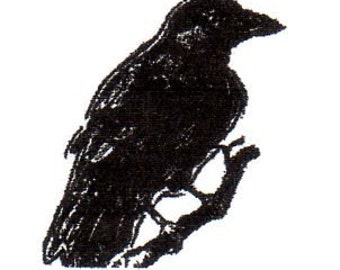 Crow on Branch-SMALL Red Rubber Stamp-Original design 03106, halloween rubber stamp, crow rubber stamp