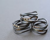 Linear Wrap Around Ring- hand forged blackened steel and reclaimed gold, black wide ring, industrial wrap ring, statement ring