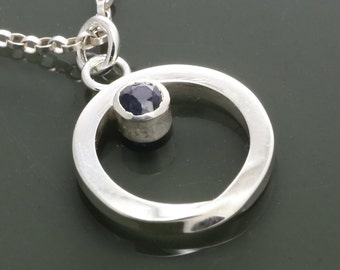 Genuine Blue Sapphire Mobius Pendant - Necklace - September Birthstone - Sterling Silver f15n009