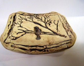 Pottery Ceramic Soap Dish Jewelry Bowl Bird on a branch