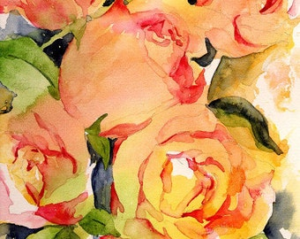 Watercolor 5 Roses Giclee Print, Rose Print, Rose Art, 11 x 14 with Border