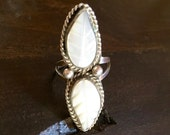 Vintage Native American Ring  Multi stone Mother of Pearl