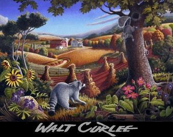 Raccoon Art Landscape, Folk Art, Farm Life, Farm Art, Appalachian Country Landscape, Signed Print, Rural life, Wildlife print