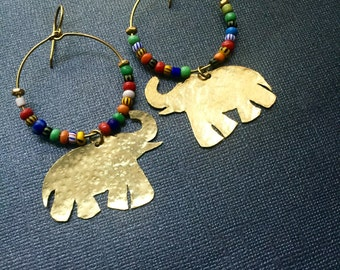 Gold Elephant African Glass Beads Earrings
