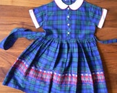 Little Girls' Vintage Embellished Plaid Dress, 1960's, Red Piped White Collar and Cuffs