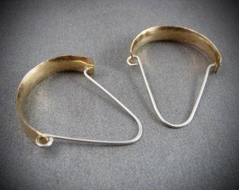 bowed minimalist ... mixed metal hoops