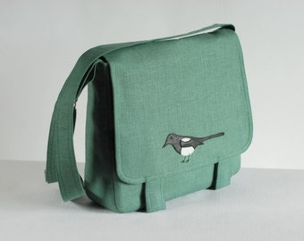 Big linen messenger bag with magpie