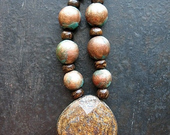 Faceted Bronzite Focal with Aged Verdigris Copper Beads and Bronzite Wheels Bead Set