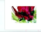 Red floral painted in alcohol inks semi abstract small work of art
