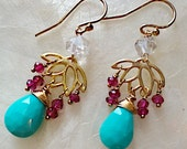 Lotus Earrings With Garnet and Turquoise