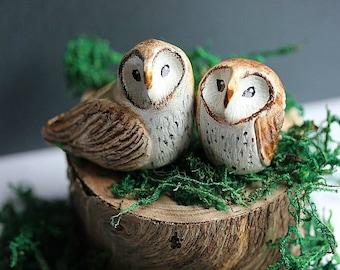 Barn Owl cake topper - Rustic Owls - Owl cake topper - Clay Owls - Wedding owls -Woodland Wedding - Rustic cake topper- Fall Wedding