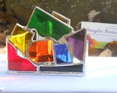 Gray Rainbow Triangle Themed Stained Glass Candle Holder with Black & White Glass