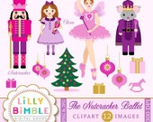 40% off Nutcracker Ballet clipart with Sugar Plum Fairy, Mouse King, Clara, Soldier, images clip art, Instant Download