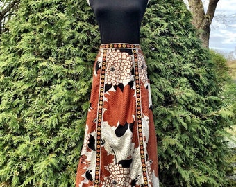 Vintage 70s Maxi Dress/ 1970s Flower Power Dress/ 1970s Psychedelic Dress/ Long 70s Dress