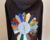 Upcycled Zip Up Hoodie Gray Patchwork Mandala FD OOAK Womens Size M  Medium  Hippie clothes, upcycled hoodie, womens hoodie, flower hoodie