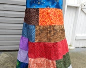 All Patchwork Tiered Spinner Skirt  Hippie Patchwork skirt Long and Full Hippie Patchwork Festival Maxi Skirt up to Plus Size