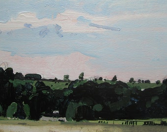 White Trailer, Original Summer Acrylic Landscape Painting on Paper, Stooshinoff