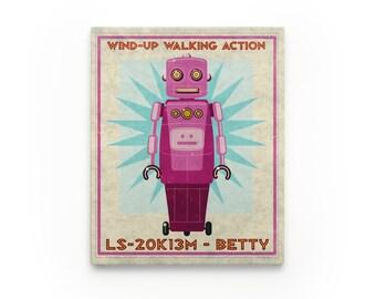 Kid Decor- Betty Retro Robot Art Series Block- Art for Boys Room- Robot Nursery Art- Robot Nursery Decor Boy- Kid Bedroom