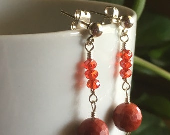 Red Coral and Crystal Earrings