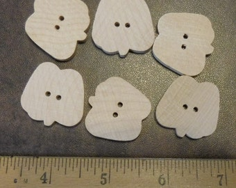 Unfinished Wood  Buttons Apple Shaped- 6 Pieces #500712
