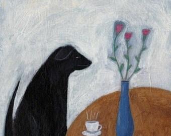 Black Lab Painting, Dog Folk Art, Black Dog Painting, Dog Illustration, Dog with Coffee, Naive Art, Whimsical Art, Labrador Retriever, Cute