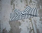 black and white stripe, top knot, headband, toddler bow, baby turban, head wrap, big bow, knit head band, jersey bow, infant bow, 0-9 mo