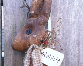 Folk Art Easter Grungy Rabbit Doll Primitive Spring
