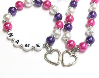 Heart charm jewelry for girls. Pink & Purple Glass pearl necklace and bracelets set w heart charm and personalized name bracelet. Birthday