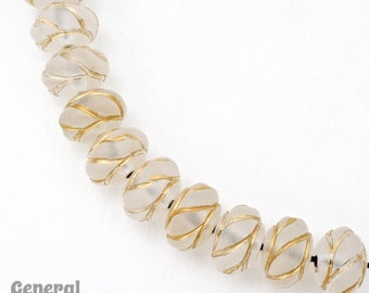 18mm Frosted Crystal and Gold Rondelle (8 Pcs) #4769