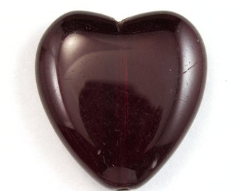 25mm Dark Ruby Heart Bead #KHM002