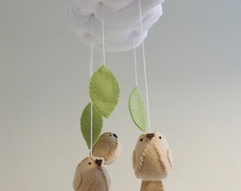 Baby mobile birds with leaves,  nursery decor gender neutral cloud mobile