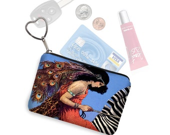 Womens Credit Card Holder  Small Makeup Bag Coin Purse Key Chain Zipper Pouch  Business Card Case  goddess peacock feathers blue orange RTS